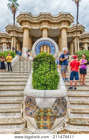 Staircase At The Entrance Of Park Guell, Barcelona, Catalonia, Spain
