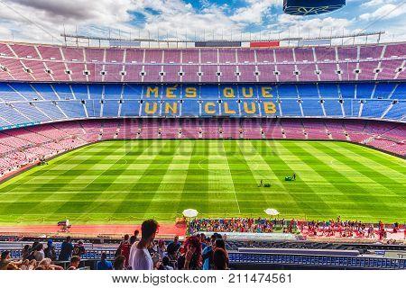 Inside Camp Nou, Home Stadium Of Fc Barcelona, Catalonia, Spain