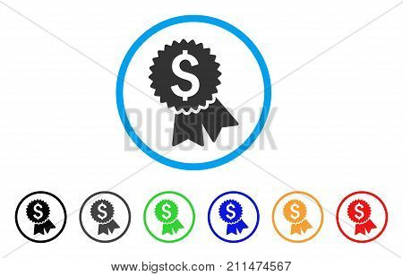 Featured Price Tag rounded icon. Style is a flat gray symbol inside light blue circle with bonus color variants. Featured Price Tag vector designed for web and software interfaces.