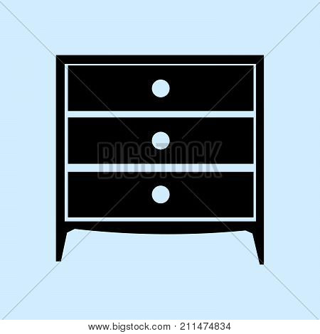 Chest of drawers vector icon. Furniture types. Chest of drawers or cabinet icon. Storage concept EPS
