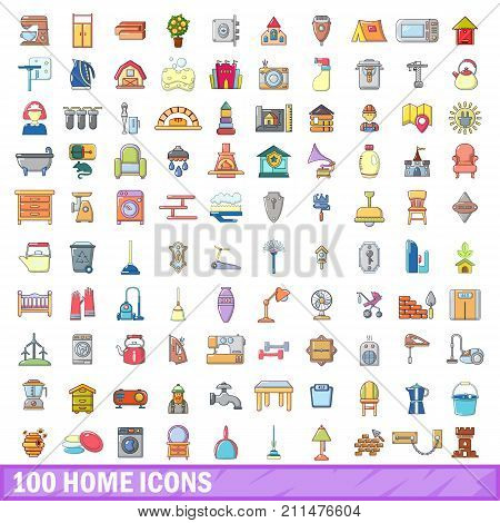 100 home icons set. Cartoon illustration of 100 home vector icons isolated on white background