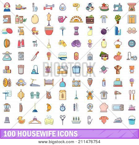 100 housewife icons set. Cartoon illustration of 100 housewife vector icons isolated on white background