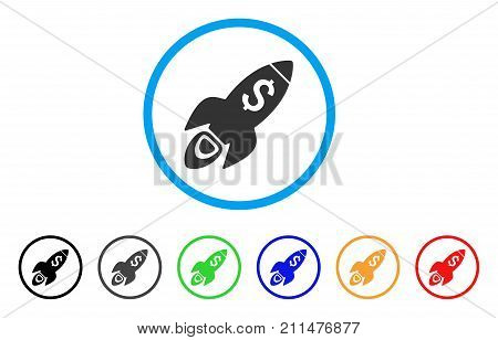 Startup Rocket Launch rounded icon. Style is a flat grey symbol inside light blue circle with bonus colored versions. Startup Rocket Launch vector designed for web and software interfaces.