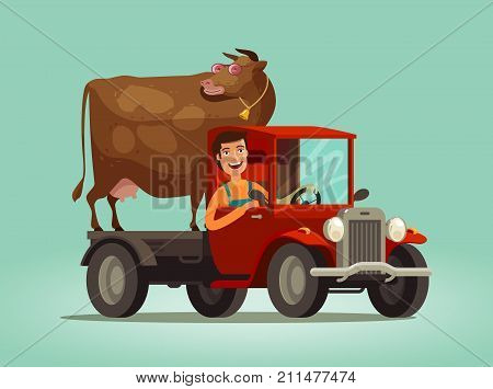Happy farmer and cow rides on truck. Farming, farm, agriculture concept. Cartoon