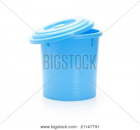 Blue trash can with lid slightly open. Isolated on white.