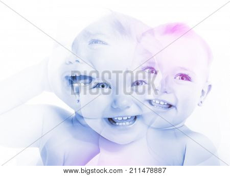 Happy childhood, motherhood, emotions, children from a test tube concept, double exposure. Adorable smiling kid. Portrait of laughing beautiful little girl, image toned.