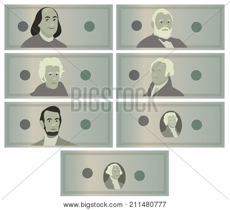 a Dollars Banknotes Set Vector. Cartoon US Currency. American Money Bill Isolated Illustration. Cash Dollar Symbol. Every Denomination Of US Currency Note. Portraits of US Presidents. George Washington, Thomas Jefferson, Abraham Lincoln, Alexander Hamilto