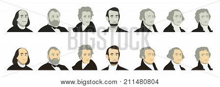 Portraits of US Presidents and famous politicians. Stylized like on US Dollar banknotes money of USA. George Washington, Thomas Jefferson, Abraham Lincoln, Alexander Hamilton, Andrew Jackson, Ulysses S. Grant, Benjamin Franklin. flat vector set, color and