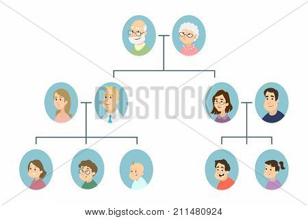 Isolated family tree. All types of relatives.