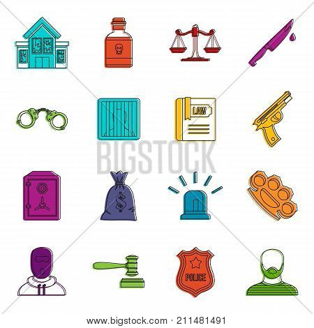 Crime and punishment icons set. Doodle illustration of vector icons isolated on white background for any web design