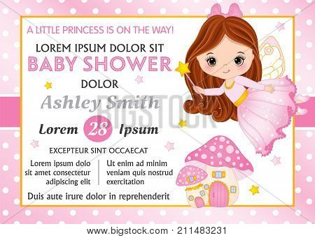 Vector card template with cute little fairy and amanita house. Card template for baby girl shower on polka dot background. Vector little fairy. Baby girl shower card template. Vector illustration