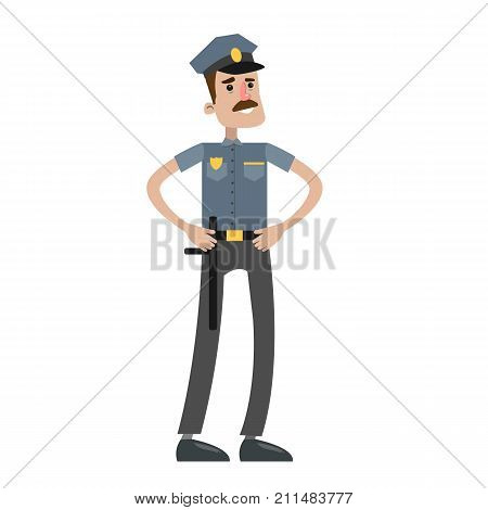 Isolated police officer in unifrom on white background.