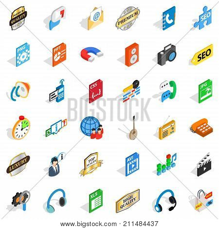 Signal icons set. Isometric style of 36 signal vector icons for web isolated on white background