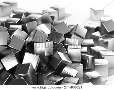 Scattered metal cubes in focus on white background. 3D illustration.
