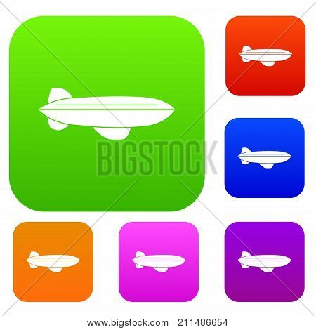 Blimp aircraft flying set icon color in flat style isolated on white. Collection sings vector illustration