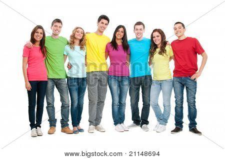 Porträt von glücklich lächelnd Gruppe von jungen Freunden zusammen isolated on white background