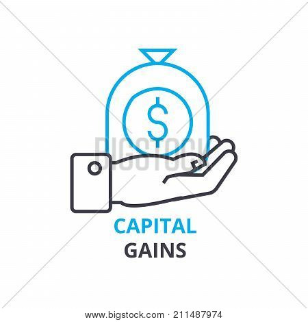 capital gains concept, outline icon, linear sign, thin line pictogram, logo, flat vector, illustration