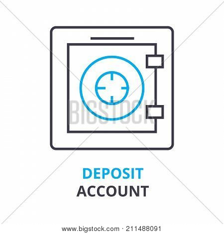 deposit account concept, outline icon, linear sign, thin line pictogram, logo, flat vector, illustration