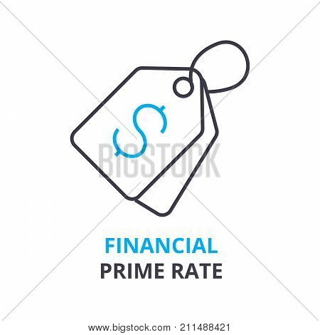 financial prime rate concept, outline icon, linear sign, thin line pictogram, logo, flat vector, illustration