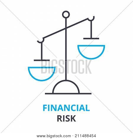 financial risk concept, outline icon, linear sign, thin line pictogram, logo, flat vector, illustration