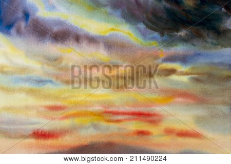 Watercolor painting cloud sky colorful of rain cloud in air and season nature abstract background. Hand Painted Impressionist.