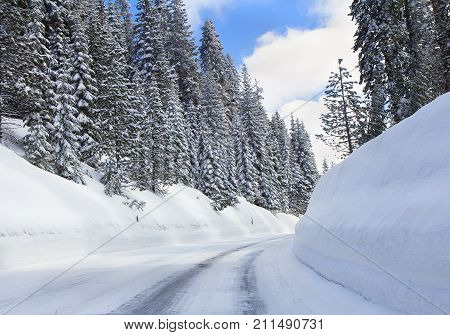 Winter landscape with road and forest in snow