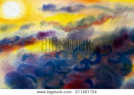Watercolor painting cloud sky colorful of rainy cloud in air and season nature abstract background. Hand Painted Impressionist.