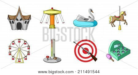 Amusement park icons in set collection for design. Equipment and attractions vector symbol stock  illustration.