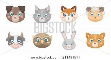 Muzzles of animals icons in set collection for design. Wild and domestic animals vector symbol stock  illustration.