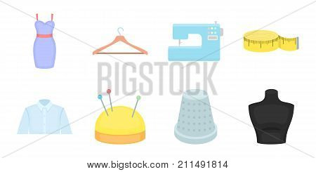 Atelier and sewing icons in set collection for design. Equipment and tools for sewing vector symbol stock  illustration.