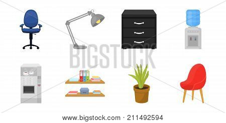 Interior of the workplace icons in set collection for design.Office furniture vector symbol stock  illustration.