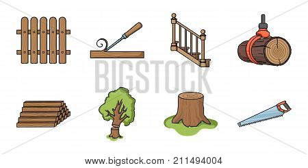 Sawmill and Timber icons in set collection for design. Hardware and Tools vector symbol stock  illustration.