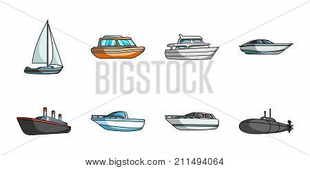 Water and sea transport icons in set collection for design. A variety of boats and ships vector symbol stock  illustration.