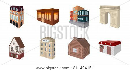 Building and architecture icons in set collection for design.The building and dwelling vector isometric symbol stock  illustration.