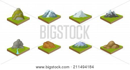 Mountains, massive icons in set collection for design. The surface of the earth vector isometric symbol stock  illustration.