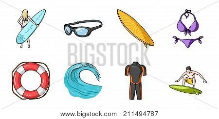 Surfing and extreme icons in set collection for design. Surfer and accessories vector symbol stock  illustration.