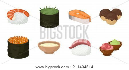 Sushi and seasoning icons in set collection for design. Seafood food, accessory vector symbol stock  illustration.