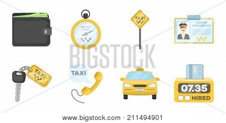 Taxi service icons in set collection for design. Taxi driver and transport vector symbol stock  illustration.