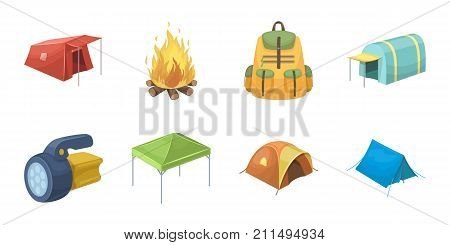 Different kinds of tents icons in set collection for design. Temporary shelter and housing vector symbol stock  illustration.