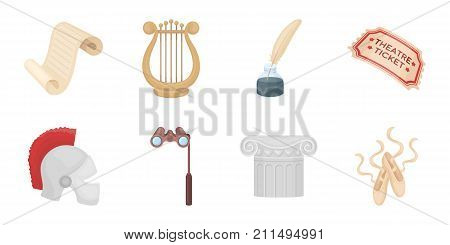Theatrical art icons in set collection for design.Theater equipment and accessories vector symbol stock  illustration.