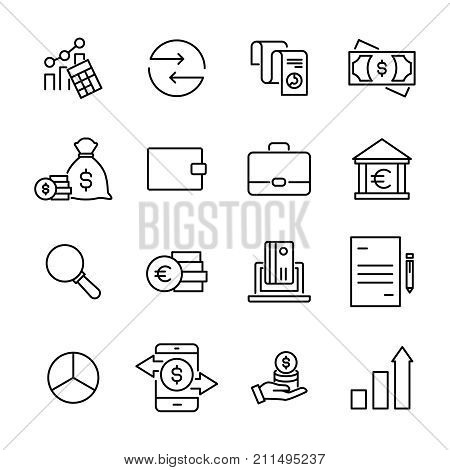 Set of premium banking icons in line style. High quality outline symbol collection of money. Modern linear pictogram pack of finance. Stroke vector illustration on a white background.