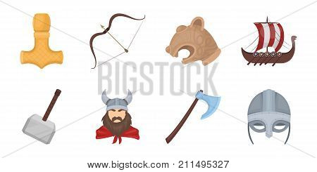 Vikings and attributes icons in set collection for design.Old Norse Warrior vector symbol stock  illustration.