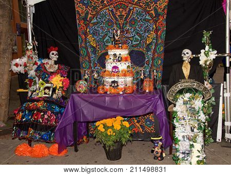 Fruitvale CA - October 29 2017: Alter display at the 29th annual Dia de los Muertos or Day of the Dead festival one of the most popular holidays celebrated in Mexico.