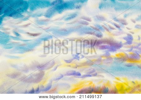 Watercolor paintings cloud sky colorful of climate beauty azure soft in the air and season nature abstract background. Hand Painted Impressionist.