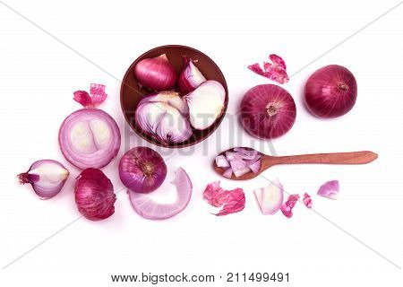 The Fresh red onion sliced bulb and onion peel isolated on white background overhead shot and top view