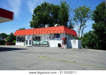 JOLIET, ILLINOIS / UNITED STATES - JULY 25, 2017: On may purchase propane gas, ice, beverages, lottery tickets, candy, tobacco products and other items in the convenience store associated with the Citgo gasoline station on Ruby Street.