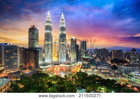 Kuala lumpur skyline at dusk Kuala lumpur Malaysia