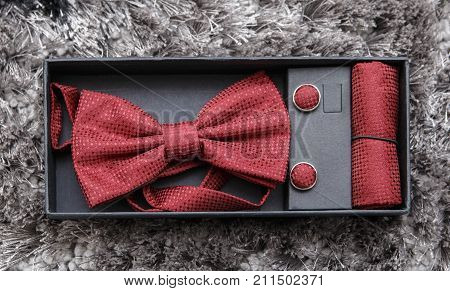 Beautiful red bow tie set ( wedding groom set )
