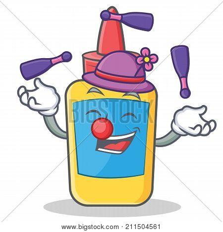 Juggling glue bottle character cartoon vector illustration poster