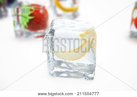 Melon in ice cube isolated on white with depth of field effects. Ice cubes with fresh berries. Berries fruits frozen in ice cubes. 3D rendering